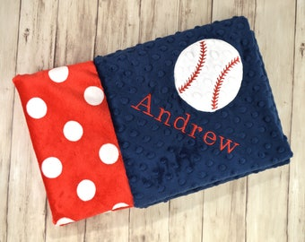 Monogrammed Minky Baby Blanket - Baseball Navy Blue, Red and white - Polka Dot - Personalized Soft Blanket with name, Sports Newborn