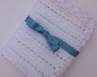 Crochet baby blanket white blanket photo prop ready to ship