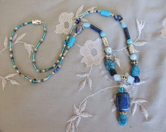 Lapis turquoise necklace, Silver, lapis , turquoise, freshwater pearl long beaded pendant necklace