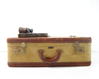 Vintage Tweed Suitcase / Vintage Luggage