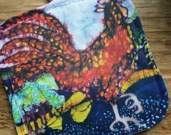 "Farm Animals pot holder  from my original batik, thermal backing      fabric  8"" x 8"""