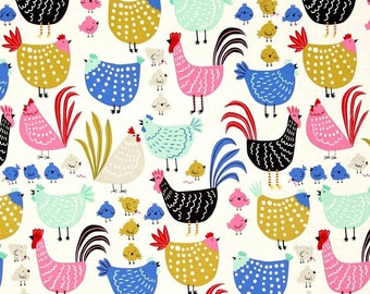 """Farmhouse Chickens Valance or Panel Cotton Print 40 x 14"""" 18"""" 24' 32"""" Lined or Unlined"""