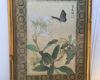 Asian hand painted butterfly on silk framed