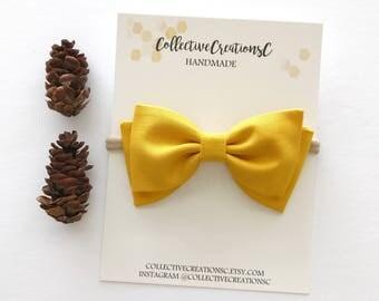 """Mustard Yellow Bow - Mustard Yellow Headband - Tuxedo Bow - Fabric Bow Clip - Mustard Folded Bow - Baby Bows - 4"""" Bow Tie - Baby Headband"""