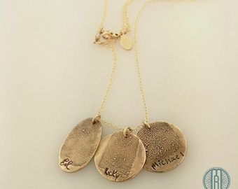 FINGERPRINT Bronze oval and 14k gold filled necklace made from JPEG fingerprint and handwriting image. Family Necklace in Bronze