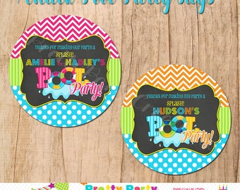 CHALK POOL PARTY  favor tags - 3, 2.5 or 2 inch - You Print
