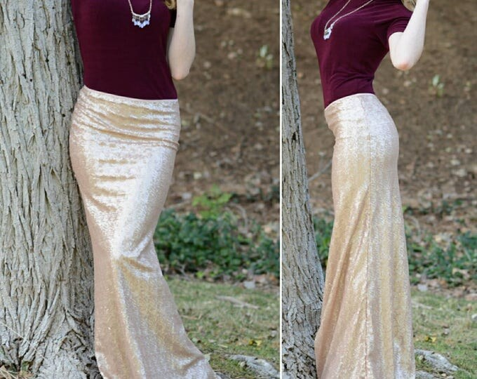 Free Shipping! Matte Champagne Maxi Skirt - Gorgeous high quality sequins - Long skirt - S M L XL (Handmade in LA!) Ships asap!