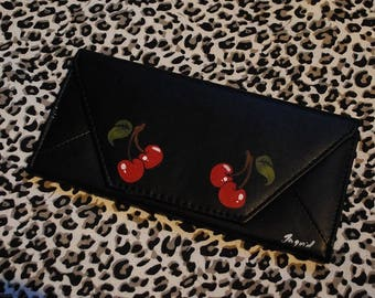 Hand painted wallet / one-off - Cherry