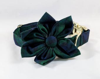 Watch Plaid Flower Girl Dog Bow Tie Collar, Holiday Dog Collar, Navy and Green Dog Collar, Fall Scottish Flannel Christmas