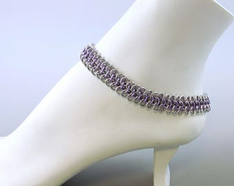 Light Purple & Silver Color Chainmaille Anklet, Chainmail Ankle Bracelet, Summer Jewelry, Chain mail