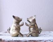 Vintage Brass Pig Bookends // Solid Brass