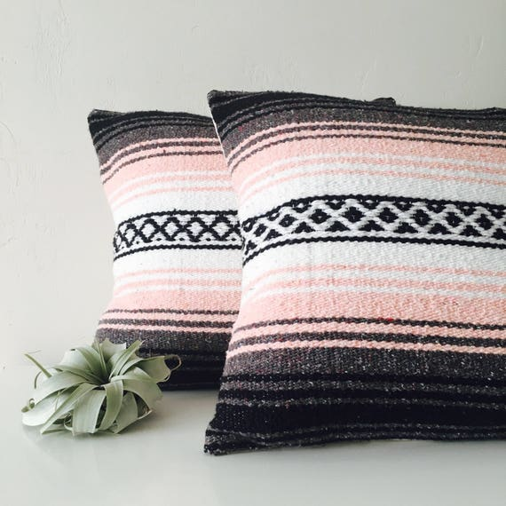 "Boho Pink Tribal Pillow Cover 18""x18"" Square Cushion Pillow Ethnic Bohemian Blush Pink Grey White Black Striped Upcycled Mexican Blanket"