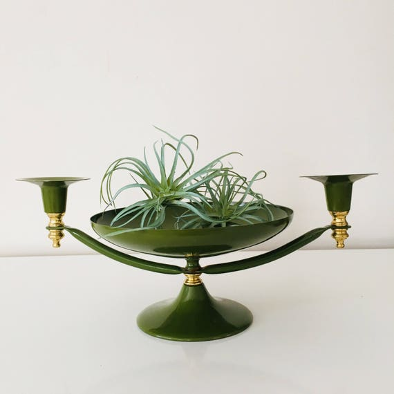 Vintage Moss Green Candle Holder Mid Century Modern Gold Green Metal Table Centerpiece