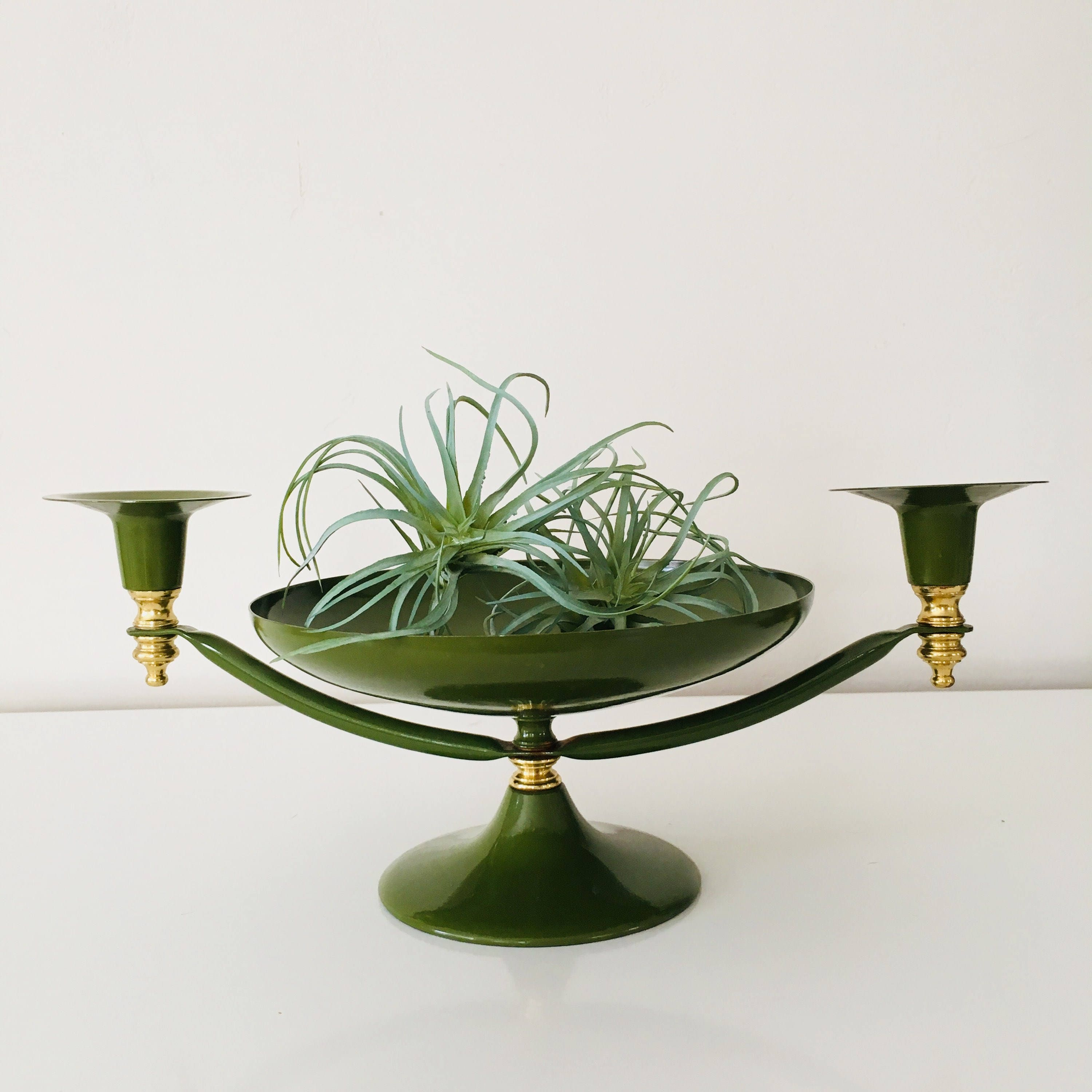 Vintage moss green candle holder mid century modern gold