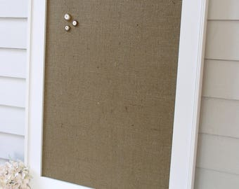 CUSTOM for Krista 30 wide x 35 high Wide wood gray owl frame with IVORY BURLAP magnet board