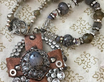 Custom Hammered & torched COPPER And Silver Rutilated Cabochon cross pendant .French vintage rhinestones,Agates,Swarovski and Czech Crystals