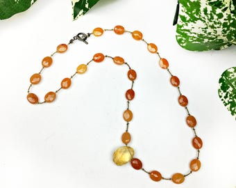 Vintage Citrine Carnelian and Yellow Agate Necklace