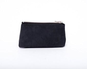 Black leather case, leather pouche, mini wallet, coin purse, coin pouche, leather coin wallet, card holder, Christmas stocking gift idea