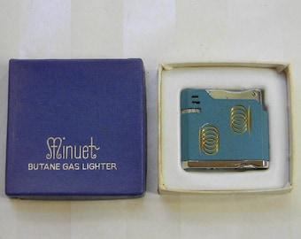 CIGARETTE LIGHTER - Vintage Minuet Butane Gas Cigarette Lighter in Original Box