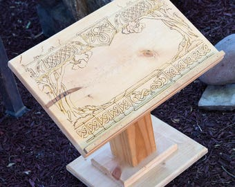 Wood Burned Celtic Book Stand