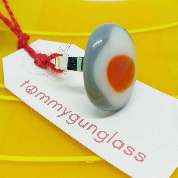 Orange and Gray Adjustable Ring