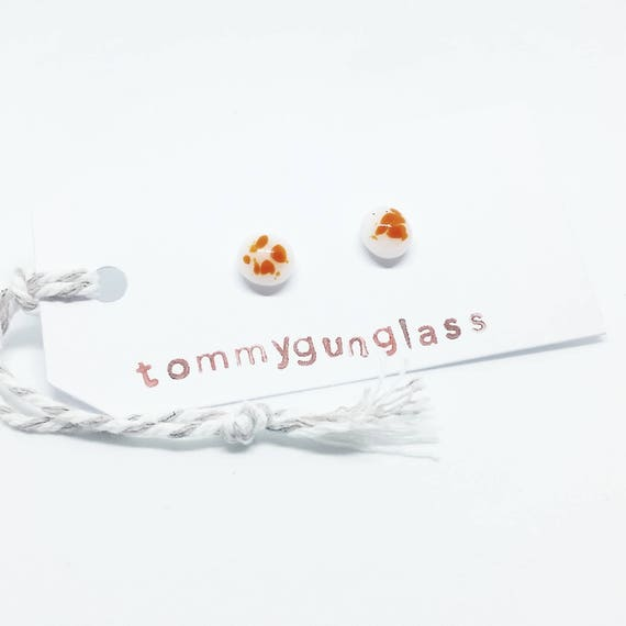 Orange and White Glass Stud Earrings