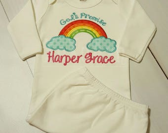 Rainbow Baby God's Promise---Embroidered bodysuit