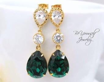 Emerald Bridal Earrings Dark Green Bride Earrings Wedding Jewelry Swarovski Crystal Teardrop Emerald Wedding Earrings Gold Bridesmaid Gift
