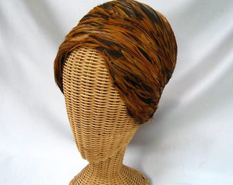 Vintage Ladies Feather Hat Evelyn Varon Shades of Brown