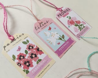 """Gift tags, Floral, Seed Packet, Handmade, Cardstock quality with colored twine, Set of 6, 2""""x3"""""""