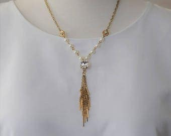 Crystal Necklace charm,  Pearl Necklace Charm, Gold and Pear Necklace, Gift for her, Holiday Gift, Tassel necklace charm