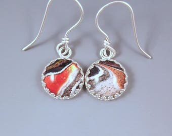 Fordite Earrings- Orange Crush- Bright Shimmering Color- Michigan Made- Sterling Silver Drop Earrings