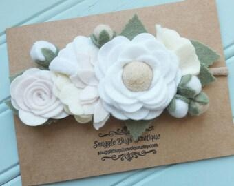 Neutral Baby Headband-Wildflower Felt Flower Bouquet Headband in White, Off White and Ecru-Headband-Baby Girl Headband-Baby Headband