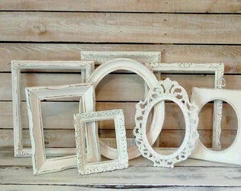 PICTURE Frames, Open Frame Set, Wall Grouping, Off White Vintage frames, Shabby Nursery, Cottage Chic, French Farmhouse Wall decor