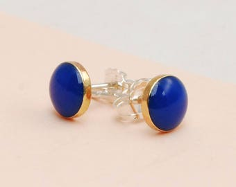 Blue and Gold everyday Stud earrings
