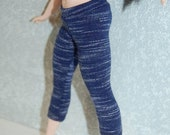 Spring Sale Curvy Barbie exercise yoga pants A4B178 fashionista fashion doll clothes navy blue stripe READY To Ship