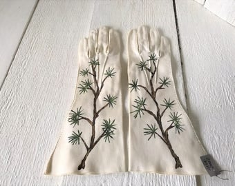 Vintage gloves hand painted ivory cotton mid length size small pine branches/ free shipping US
