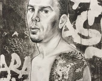 Original Mixed Media charcoal drawing Portrait Drawing Gay Male with Thorn & Scared Heart Tattoo in an Abstract Urban Setting.