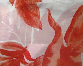 Infinity red and white leafy floral scarf - loop endless circle scarf - tube eternity flowers