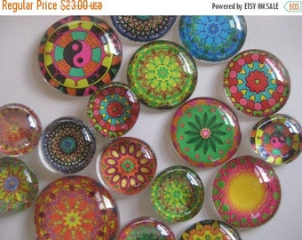 "Mandalas Glass Fridge Magnet Set (12) strong magnets mandalas in three sizes 1/2"" 1' and 1 1/8"""