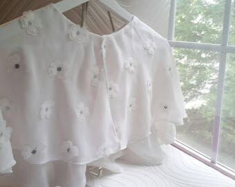 Bridal white chiffon Capelet with white flowers and silver accent, ready to ship