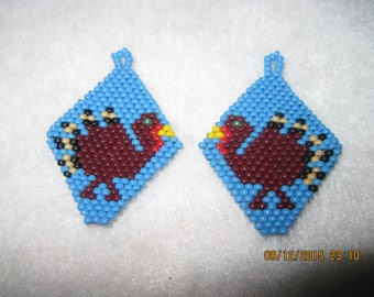 HANDMADE Native Style Thanksgiving Turkey in Blue Earrings...pick your style of Earrings....1629h