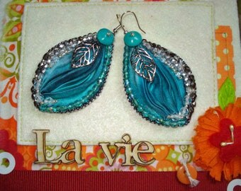 """Earrings woven glass beads and silk """"fashion"""""""