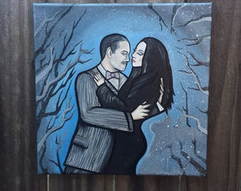 Gomez & Morticia - 10x10 Hand-painted Acrylic on Canvas