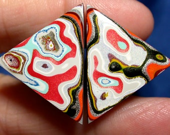 Fordite Cabochon   MATCHED PAIR  (suzybones)