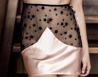 ON SALE Half Slip Skirt Lingerie / Pink Silk Black Lace Stars Buttons Wave / TEMPEST Wave Half Slip - Nightfall / Shell