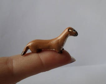 miniature weasel figurine, weasel sculpture, weasel totem, animal totem, shadowbox miniature 171