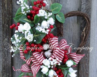 SALE thru 12/20/17 Valentine's Wreath, Heart Wreath, Spring Wreath, Designer Wreath, Red Berry Wreath, Country Cottage Wreath, Country Frenc