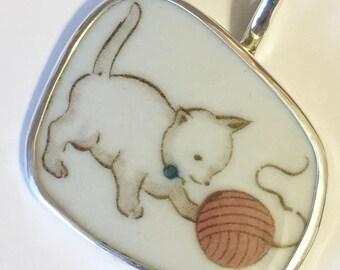 Broken China Jewelry, Pendant.sterling Silver  OOAK Kitty Cat With Orange Ball Of Yarn