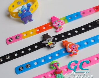 Trolls Bracelet Adjustable Silicone bracelets with Charms for Gift or Birthday Party Favors